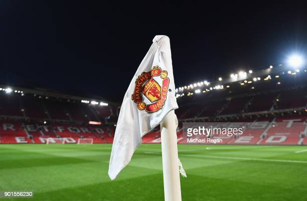 A general view of a corner flag inside the stadium prior to the Emirates FA Cup Third Round match between Manchester United and Derby County at Old...