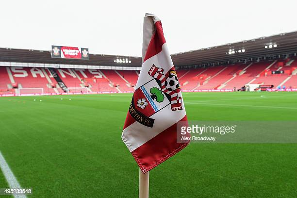 A general view of a corner flag inside the stadium prior to the Barclays Premier League match between Southampton and AFC Bournemouth at St Mary's...