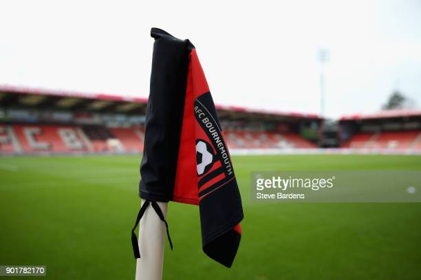 A general view of a corner flag inside the stadium prior to the The Emirates FA Cup Third Round match between AFC Bournemouth and Wigan Athletic at...