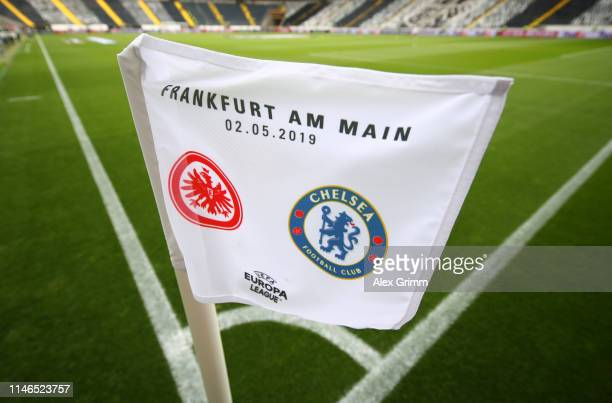 General view of a corner flag inside the stadium prior to the UEFA Europa League Semi Final First Leg match between Eintracht Frankfurt and Chelsea...