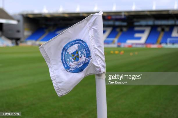 General view of a corner flag prior to the Premier League Cup match between Peterborough United U23 and Charlton Athletic U23 at ABAX Stadium on...