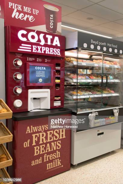 A general view of a Costa Coffee Express machine in a shop on October 13 2017 in Cardiff United Kingdom Costa Coffee owner Whitbread which also owns...