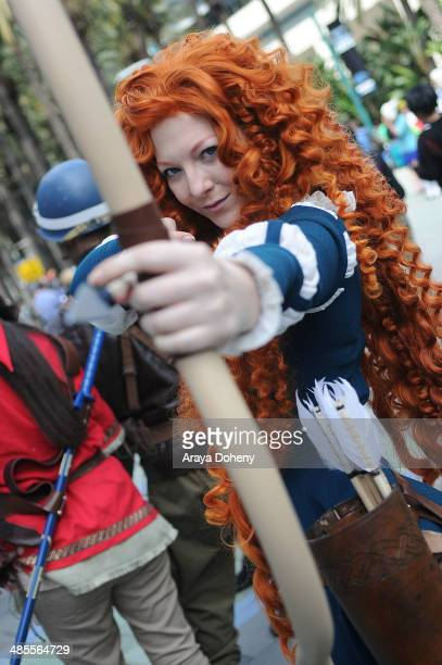 A general view of a costume wearing attendant at WonderCon Anaheim 2014 Day 1 at Anaheim Convention Center on April 18 2014 in Anaheim California
