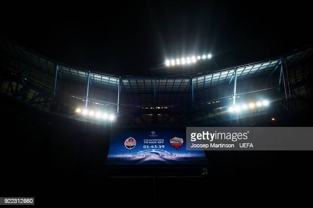 A general view of a countdown clock prior to the UEFA Champions League Round of 16 First Leg match between Shakhtar Donetsk and AS Roma at Metalist...
