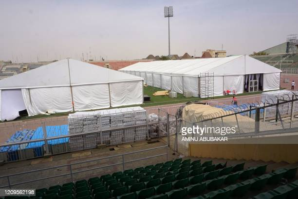 General view of a COVID-19 coronavirus isolation centre at the Sani Abacha stadium in Kano, Nigeria, on April 7, 2020. - The centre is being built...