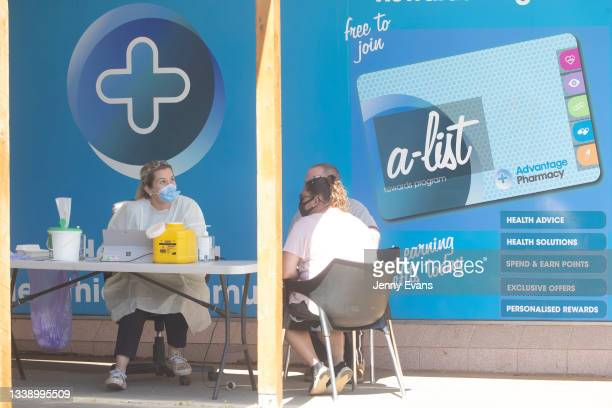 General view of a COVID-19 vaccination clinic at a Pharmacy on September 08, 2021 in Narromine, Australia. New freedoms have been announced for fully...