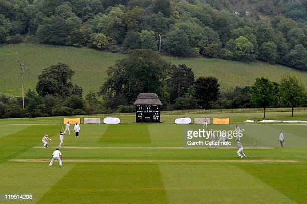 A general view of a cricket match during an exclusive cricket day in the idyllic surroundings of the Getty family estate at Wormsley Buckinghamshire...