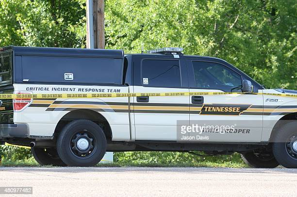 A general view of a crime scene after Four Marines were killed in Military Center Shootings on July 16 2015 in Chattanooga Tennessee According to...