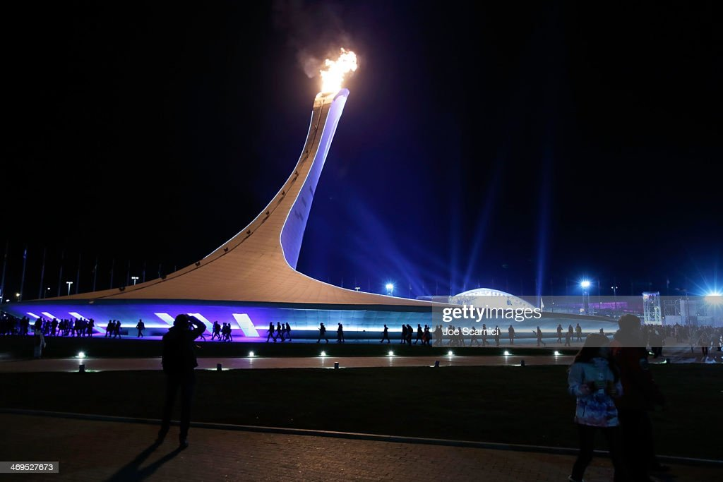 A general view of a crowd of people around the Olympic Cauldron at the Olympic Park during the Sochi 2014 Winter Olympics on February 15, 2014 in Sochi, Russia.