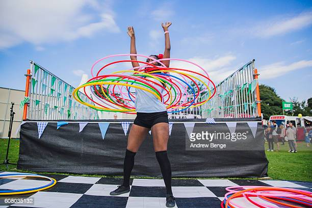 General view of a dancer with hula hoops during OnRoundhay Festival 2016 on September 17 2016 in Leeds England