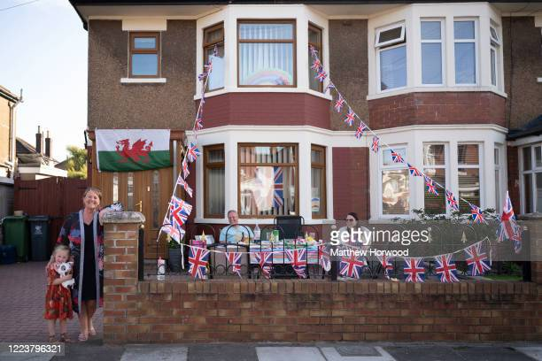A general view of a decorated house in Grangetown on May 08 2020 in Cardiff United Kingdom The UK commemorates the 75th Anniversary of Victory in...