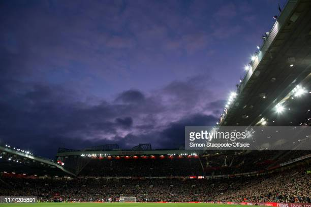 A general view of a deep blue sky during the Premier League match between Manchester United and Liverpool FC at Old Trafford on October 20 2019 in...