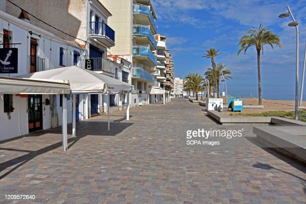 A general view of a deserted avenue by the sea in Calafell After the state of alarm and the confinement of people in their homes due to the worldwide...