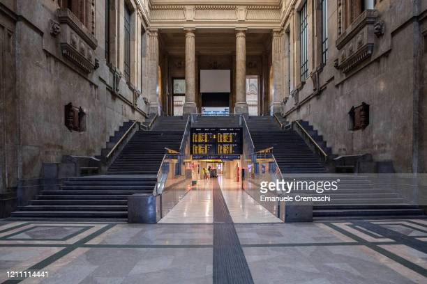 General view of a deserted hall at Milan's Central Station on March 08, 2020 in Milan, Italy. Prime Minister Giuseppe Conte announced overnight a...