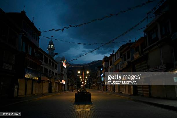 General view of a deserted road of a closed market is pictured amid concerns over the spread of the COVID-19 coronavirus in Leh, the joint capital of...