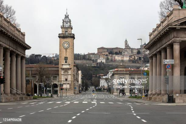 General view of a deserted Viale Vittorio Emanuele II and of the Upper Town on March 25, 2020 in Bergamo, near Milan, Italy. Bergamo is the epicenter...