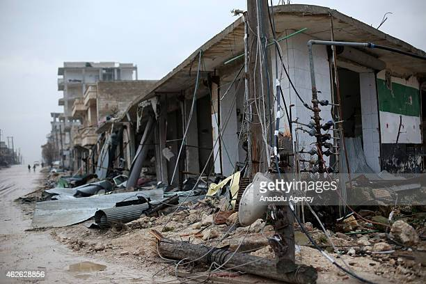 General view of a destroyed building in Ashrafieh district during the operation staged by 16th division members of Free Syrian Army with howitzers,...