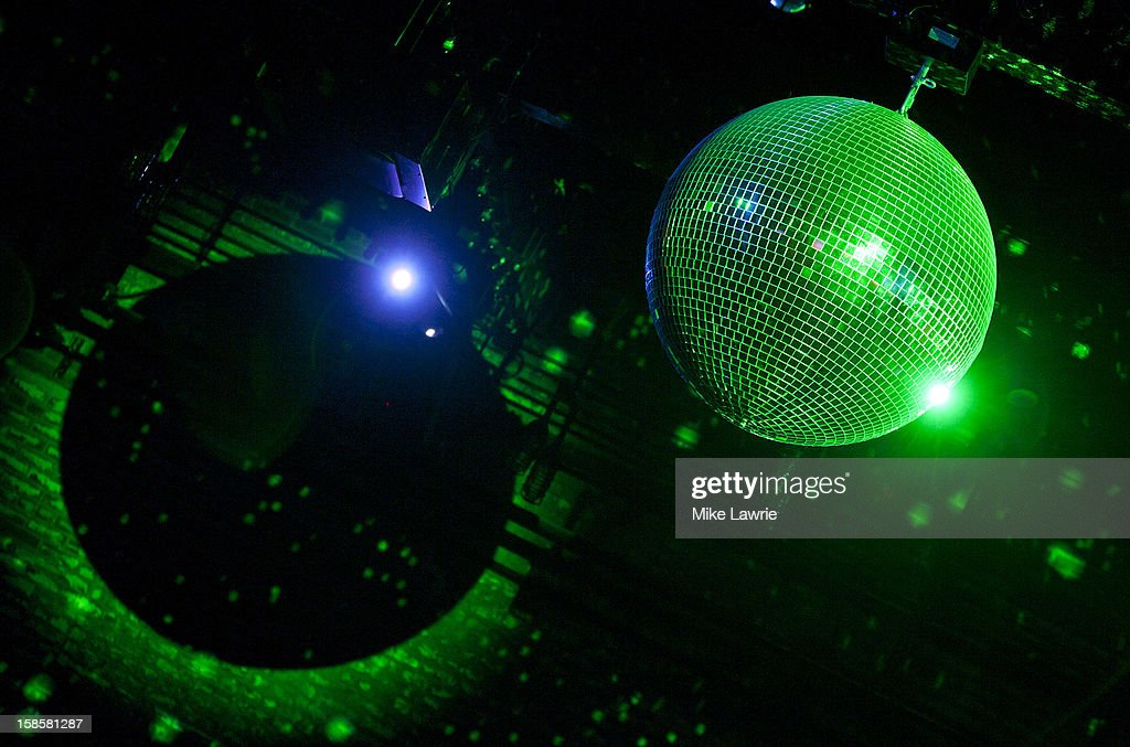 A general view of a disco ball as Deer Tick performs at Brooklyn Bowl on December 19, 2012 in New York City.