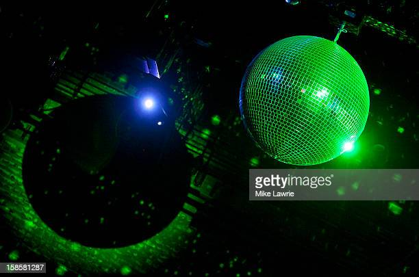 A general view of a disco ball as Deer Tick performs at Brooklyn Bowl on December 19 2012 in New York City