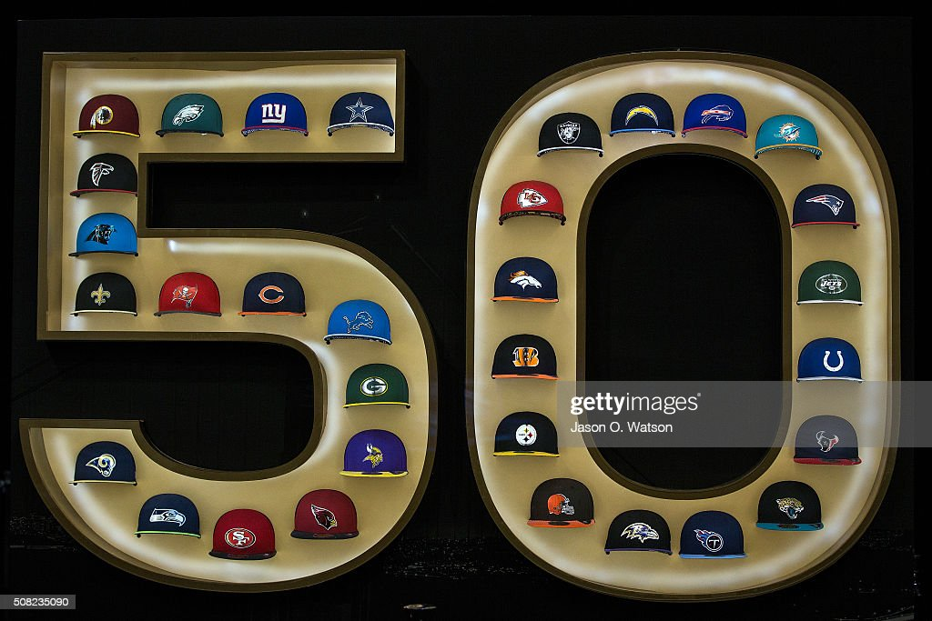General view of a display of NFL caps during the NFL Experience exhibition before Super Bowl 50 at the Moscone Center on February 3, 2016 in San Francisco, California.