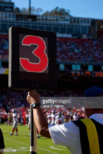 General view of a down marker on the sidelines showing third down during the fourth quarter between the San Francisco 49ers and the New York Giants...