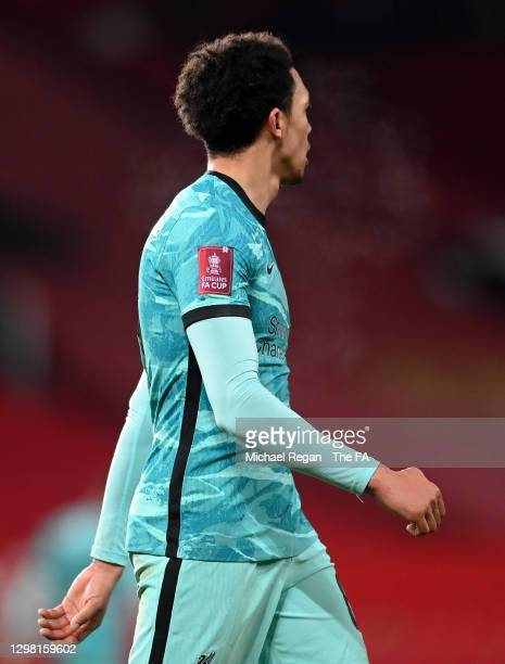 General view of a Emirates FA Cup sleeve badge on the shirt of Trent Alexander-Arnold of Liverpool during The Emirates FA Cup Fourth Round match...