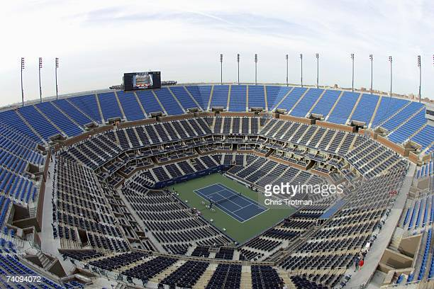 General view of a empty staduim during the US Open at the USTA Billie Jean King National Tennis Center in Flushing Meadows Corona Park on August 31,...