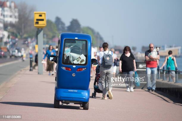 A general view of a enclosed mobility scooter along the seafront on April 20 2019 in Southend on Sea Essex England