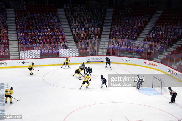 General view of a face off during the first period of the Isobel Cup Game between the Buffalo Beauts and the Boston Pride at Herb Brooks Arena on...