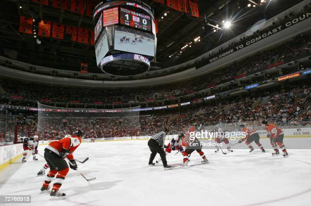 General view of a face off during the NHL game between the Philadelphia Flyers and the Columbus Blue Jackets at the Wachovia Center on November 24,...