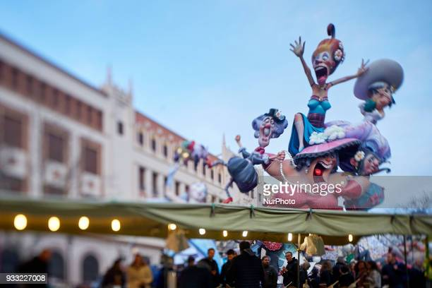 the image has been taken with a tiltshift lens General view of a Falla during Las Fallas Festival on March 17 2018 in Valencia Spain The Fallas is...