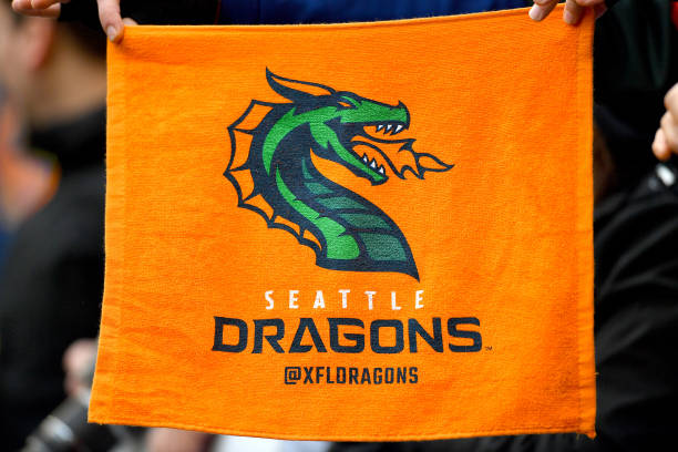 A general view of a fan holding a Seattle Dragons orange towel during the game against the Dallas Renegades at CenturyLink Field on February 22 2020...