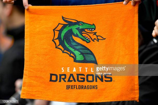 General view of a fan holding a Seattle Dragons orange towel during the game against the Dallas Renegades at CenturyLink Field on February 22, 2020...
