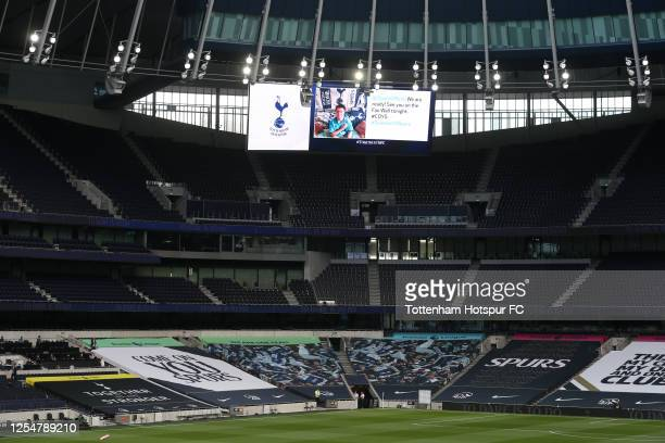General view of a fan message on the big screen during the Premier League match between Tottenham Hotspur and Everton FC at Tottenham Hotspur Stadium...
