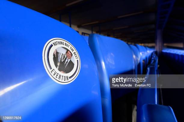 General view of a fan sticker on the seats in the Gwladys Street Stand at Goodison Park before the FA Cup Third Round match between Everton and...