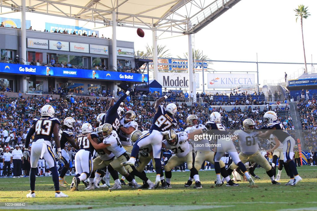 General view of a field goal attempt by the New Orleans Saints against the Los Angeles Chargers during a preseason NFL game at StubHub Center on August 25, 2018 in Carson, California.