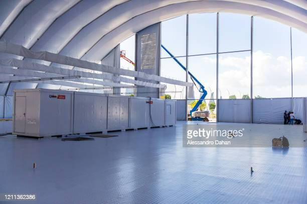 General view of a field hospital being built with private funds at the Athletes' Park in Barra da Tijuca neighborhood on April 29 2020 in Rio de...