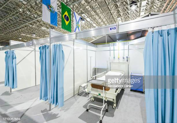 General view of a field hospital under construction in Riocentro Convention Center on April 15 2020 in Rio de Janeiro Brazil The facility is being...