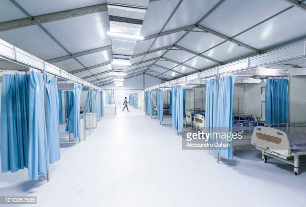 General view of a field hospital under construction in Riocentro Convention Center on April 15, 2020 in Rio de Janeiro, Brazil. The facility is being...