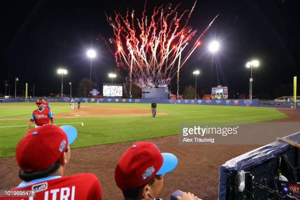 A general view of a fireworks display immediately following the 2018 Little League Classic between the New York Mets and the Philadelphia Phillies at...