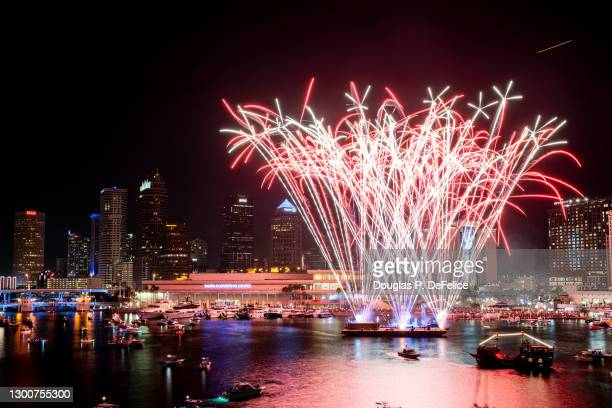 General view of a fireworks display in preparation of Super Bowl LV on February 06, 2021 in Tampa, Florida.