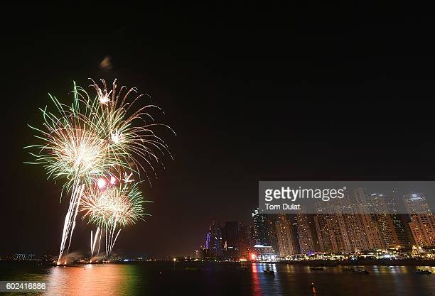 A general view of a fireworks display on September 11 2016 in Dubai United Arab Emirates Muslims across the world are preparing to celebrate Eid...
