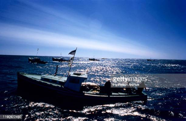 General view of a fishing boat during the 1955 International Tuna Cup on September 11 1955 off the coast of Wedgeport Nova Scotia Canada