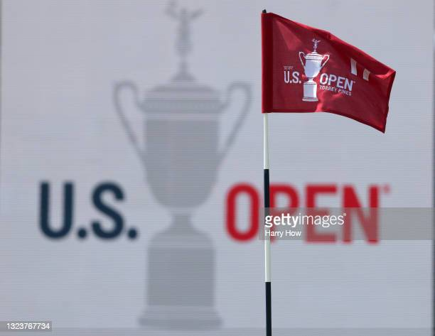 General view of a flag and signage is seen on the 17th green during a practice round prior to the start of the 2021 U.S. Open at Torrey Pines Golf...