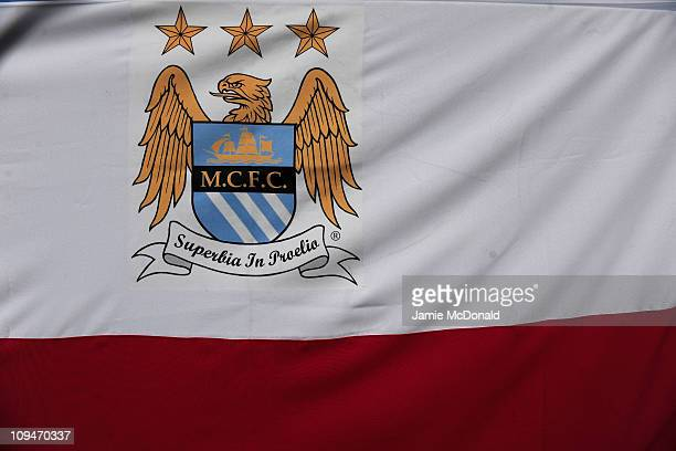 General View of a flag outside The City of Manchester Stadium home of Manchester City FC on February 27 2011 in Manchester England