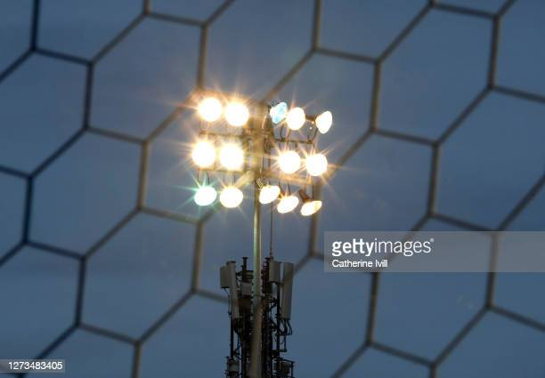 General view of a flood light behind a goalnet during the Sky Bet Championship match between Coventry City and Queens Park Rangers at St Andrew's...