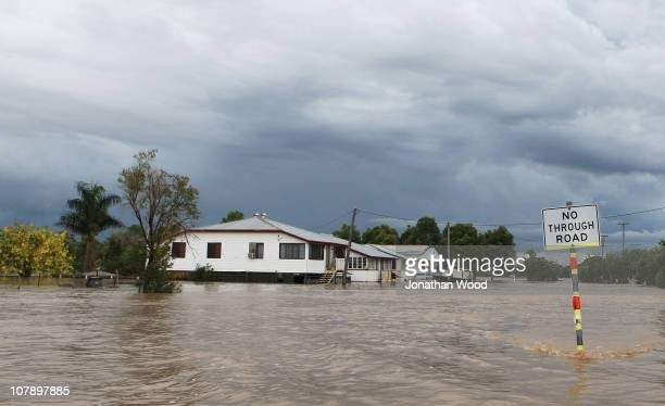 A general view of a flooded street on January 6 2011 in Rockhampton Australia All eyes are on the central Queensland city of Rockhampton currently in...