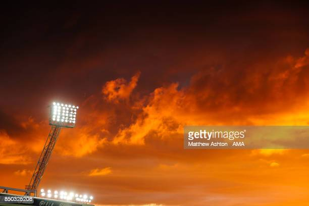 General view of a floodlight at the Hawthorns at dusk under a sunset, the home stadium of West Bromwich Albion prior to the Premier League match...