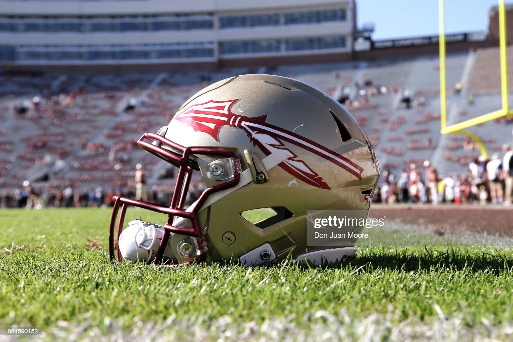 A general view of a Florida State Seminoles Helmet on the field before the game against the Louisiana Monroe Warhawks at Doak Campbell Stadium on Bobby Bowden Field on December 2, 2017 in Tallahassee, Florida. Florida State defeated Louisiana Monroe 42 to 10.