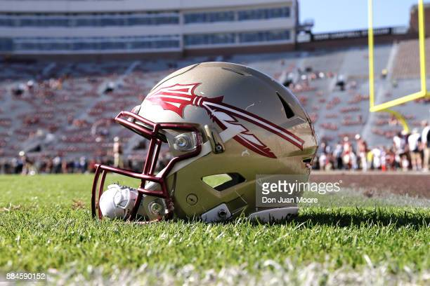 A general view of a Florida State Seminoles Helmet on the field before the game against the Louisiana Monroe Warhawks at Doak Campbell Stadium on...